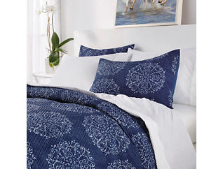 Navy Medallion 3 Piece King Comforter Set, , large