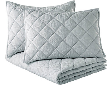 Solid Mosaic Grey 3pc K Quilt, , large