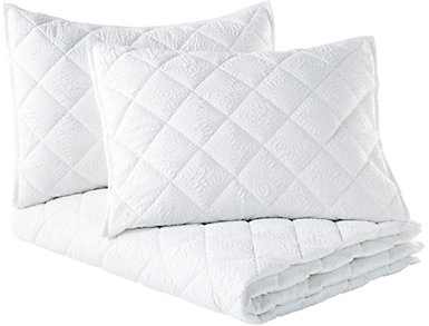 Solid Mosaic White 3pc K Quilt, , large