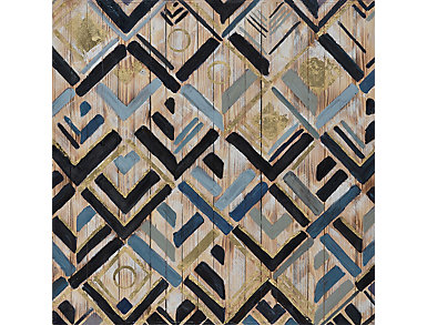 Geometric Wood Painting, , large