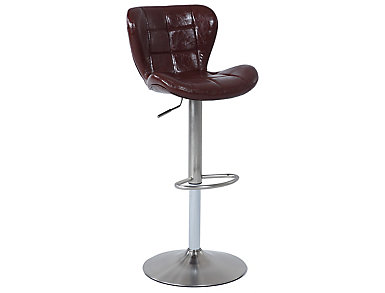 Tufted Brown Swivel Barstool, , large