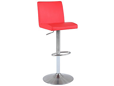 Red Low Back Swivel Stool, , large