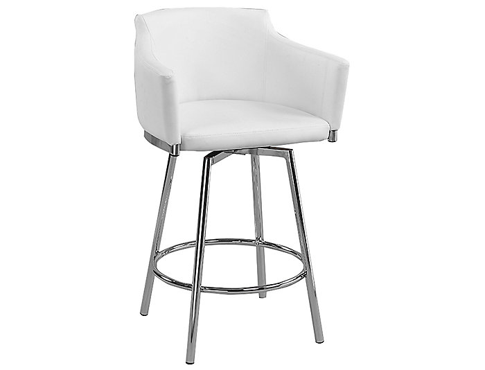 White Club Counter Stool, , large
