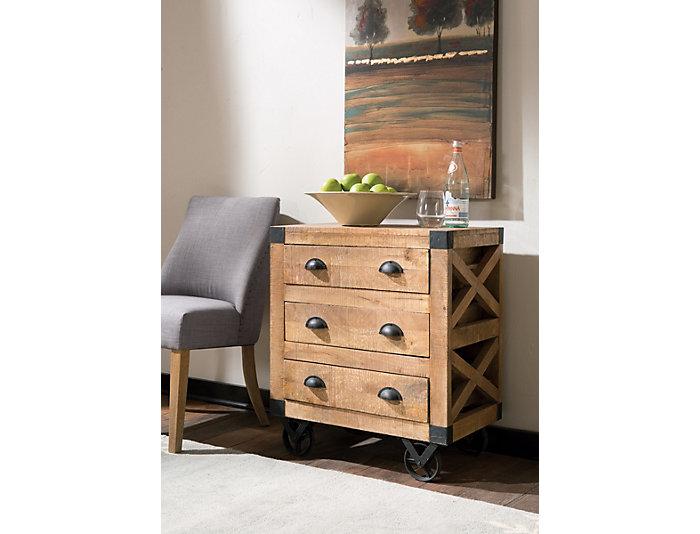 Mango Wood Wheeled Cabinet, , large