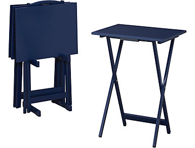 Blue TV Tray/Stand 5 Piece Set, , large