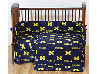 Wolverines Blue Crib Sheet, , large