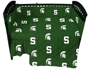 Spartans Green Crib Sheet, , large