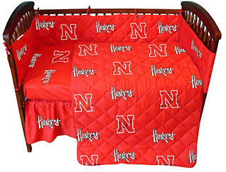 Nebraska Red Crib Sheet, , large