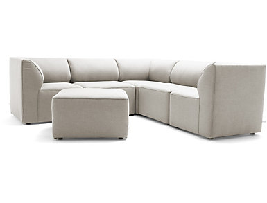 Fulton Beige 6pc Sectional, , large