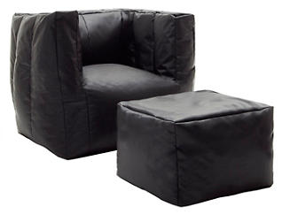 Cube Chair and Ottoman Set, Black, , large