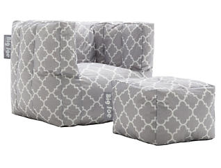 Cube Chair and Ottoman Set, Grey, , large