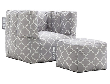 Cube Chair and Ottoman Set, Grey, large