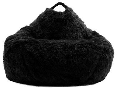 Big Joe Black Fur Bean Bag, Black, large