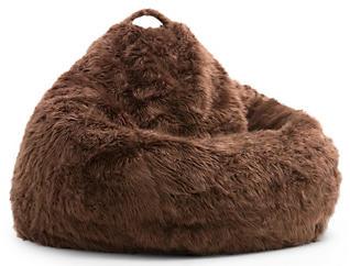 Big Joe Fur Bean Bag, Brown, , large