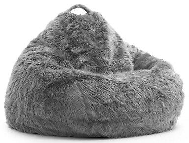 Big Joe Fur Bean Bag, Grey, large