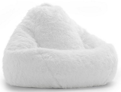 Big Joe Fur Bean Bag, Ivory, large
