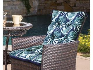 Navy/ Palm High Back Cushion, , large