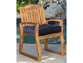 Navy/Palm Arm Chair Cushion, , large