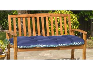 Navy/Palm Bench Cushion, , large