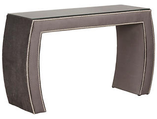 FUSE Aphrodite Upholstered Vanity with Glass Top, , large