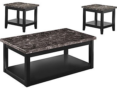 Braden 3 Pack Occasional Tables, Black, , large