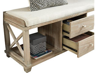 Oak Drawer Bench with Cushion, , large