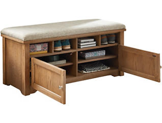 Oak Shoe Bench with Cushion, , large
