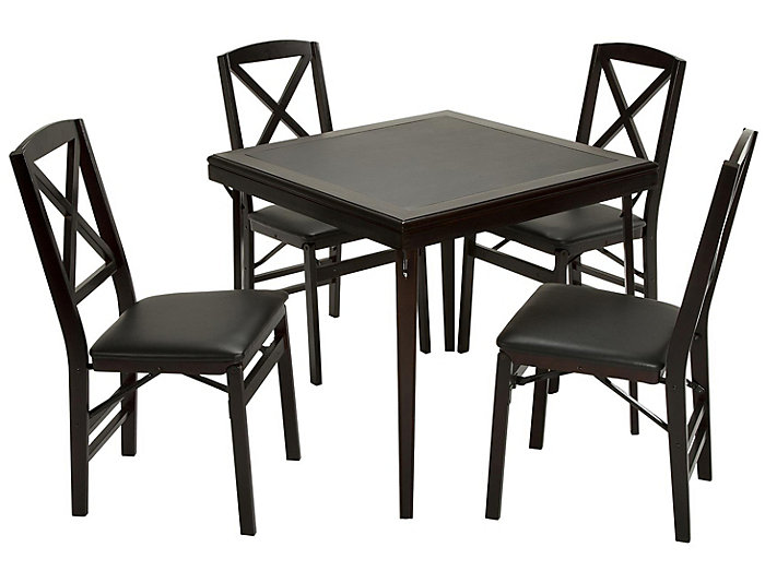 Folding Espresso Wood Table, , large