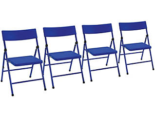 Blue Folding Chair Set of 4, , large