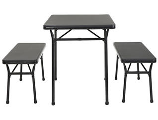 Black 3PC Table and 2 Benches, , large