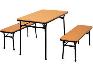 Orange 3 Piece Table and 2 Benches, , large