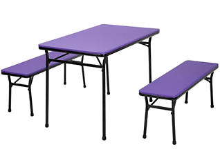 Purple 3 Piece Table and 2 Benches, , large