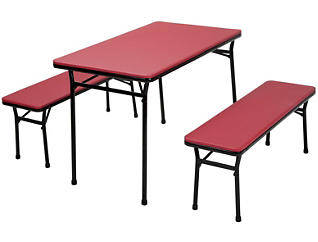 Red 3 Piece Table and 2 Benches, , large