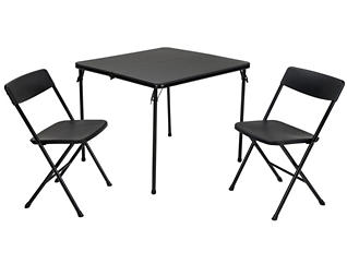 Black 3 Piece Table and 2 Chairs, , large