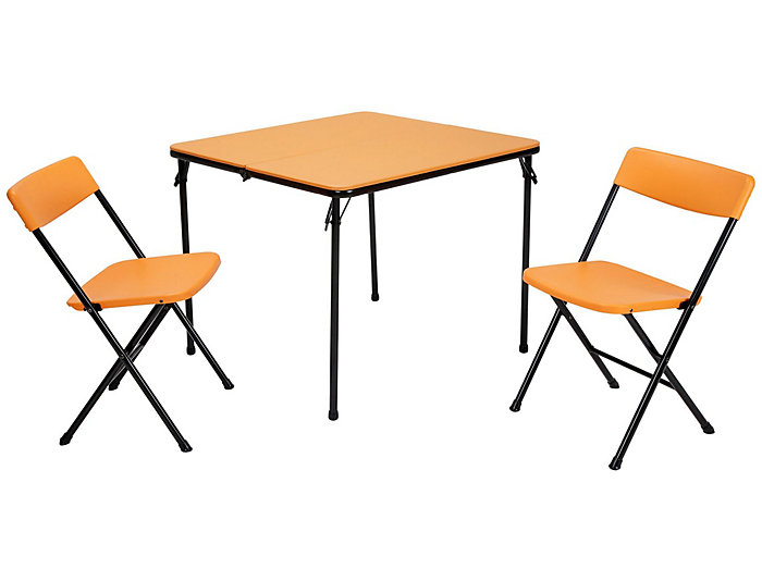 Orange 3 Piece Table and 2 Chairs, , large
