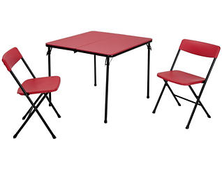 Red 3 Piece Table and 2 Chairs, , large