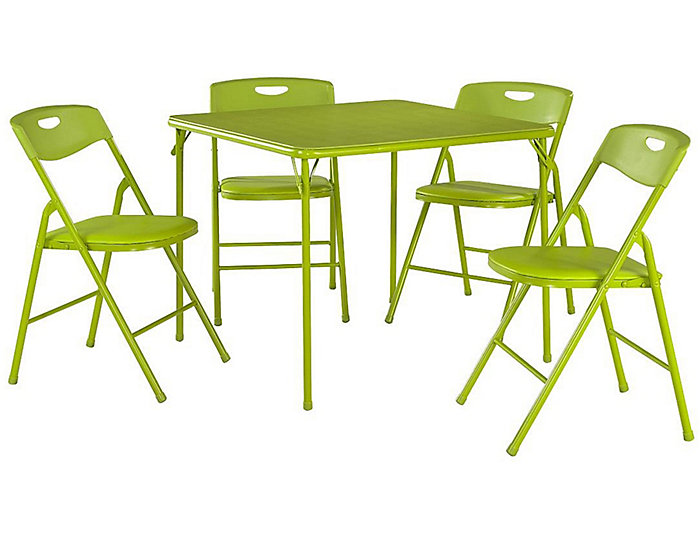 Green 5 Piece Table and Chair Set, , large