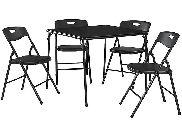 Black 5 Piece Table and Chair Set, , large