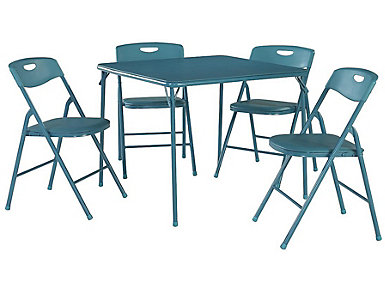 Teal 5 Piece Table and Chair Set, , large