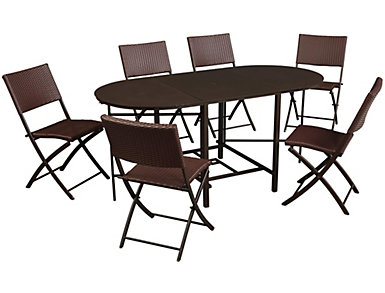George 7 Piece Dining Set, Brown, , large