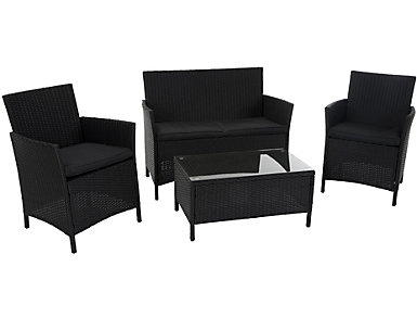 Vernal 4 Piece Black Seating Set, , large