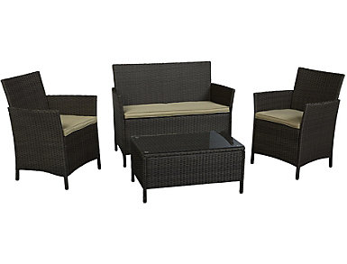 Vernal 4 Piece Brown Seating Set, , large