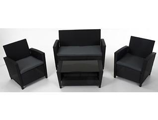 Lindon 4 piece Black Seating Set, Black, , large