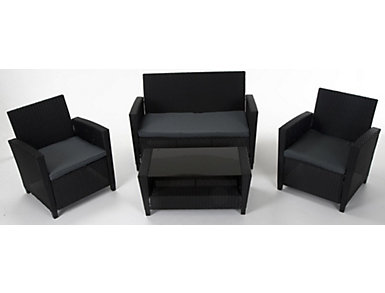 Lindon 4 Piece Black Seating Set, , large
