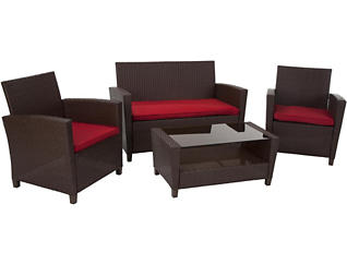 Lindon 4 piece Seating Set, Brown, , large