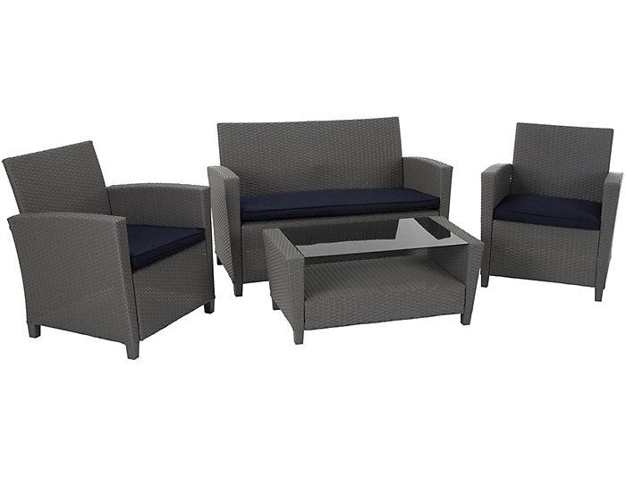 Lindon 4 piece Grey Seating Set, Grey, , large