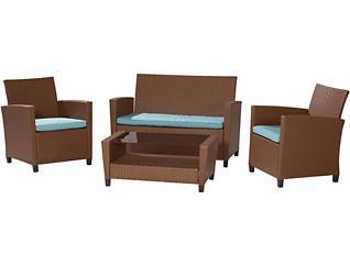 Lindon 4 piece Tan Seating Set, Brown, , large