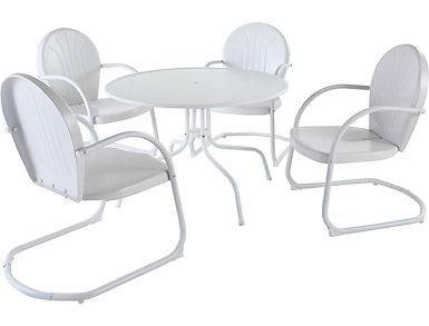 Daisy 5pc White Dining Set, , large