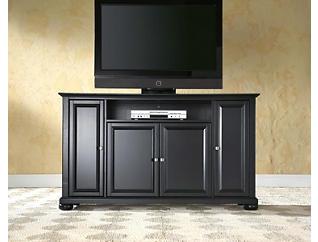 """Forte 60"""" Black TV Stand, Black, large"""