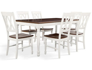Shelby 7PC White Dining Set, , large
